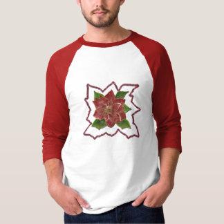 Gold Rimmed Poinsettia Design T-Shirt
