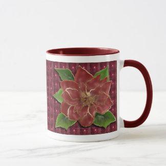 Gold Rimmed Poinsettia Drinkware Mug