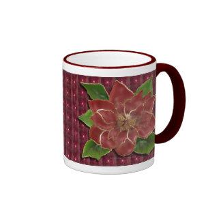 Gold Rimmed Poinsettia Drinkware Ringer Coffee Mug
