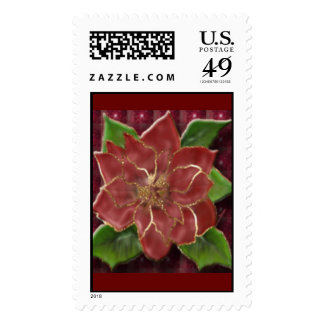 Gold Rimmed Poinsettia Stamp
