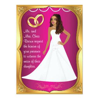 Gold Ring Bride Heart Fuchsia Wedding Invitation