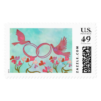 Gold rings & birds postage - 5 custom backgrounds