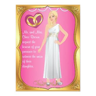 Gold Rings Bride Heart & Pink Wedding Invitation