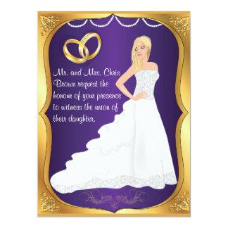 Gold Rings Bride Heart & Purple Wedding Invitation