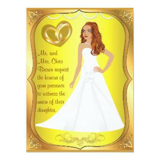 Gold Rings Bride Heart Yellow Wedding Invitation