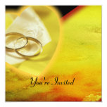 Gold Rings Glow Set 5.25x5.25 Square Paper Invitation Card