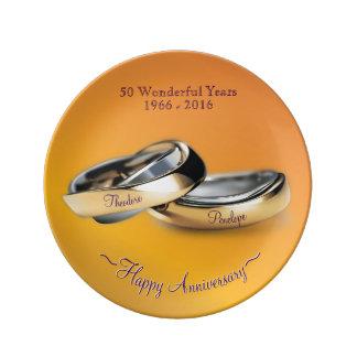 Gold Rings Golden Wedding Anniversary Dinner Plate
