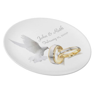 Gold Rings Love Is Divine Anniversary Plate
