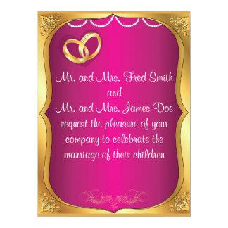 Gold Rings, Pearls & Fuchsia Wedding Invitation