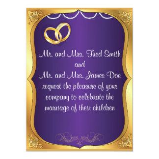 Gold Rings, Pearls & Purple Wedding Invitation