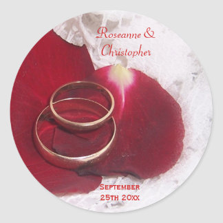Gold Rings Rose Petals Bride Groom Wedding Classic Round Sticker