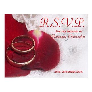 Gold Rings Rose Petals RSVP Wedding Postcard