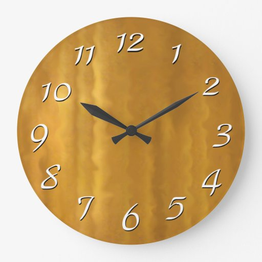 Gold ripples retro wall clock large white numbers zazzle for Large gold wall clocks