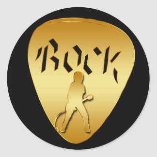 GOLD ROCK GUITAR PICK CLASSIC ROUND STICKER