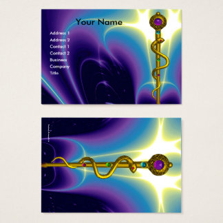 GOLD ROD ASCLEPIUS MEDICAL HEALTH CARE Purple Business Card