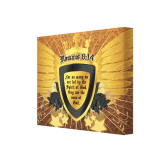 Gold Romans 8:14, Sons of God Canvas Print