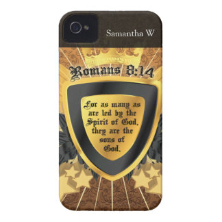 Gold Romans 8:14, Sons of God iPhone 4 Case-Mate Cases