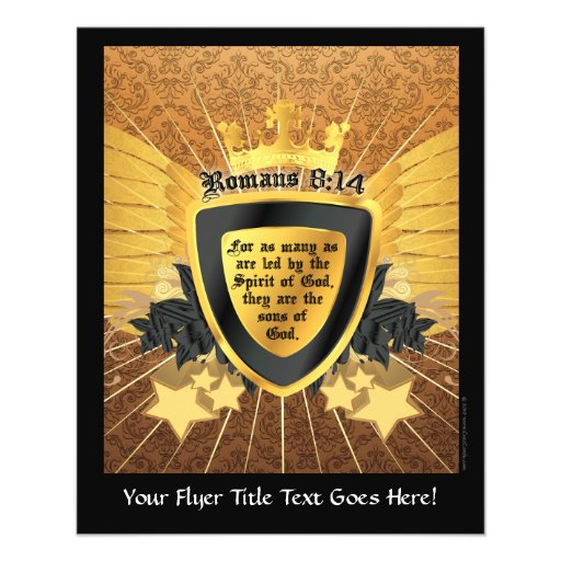 Gold Romans 8:14, Sons of God Personalized Flyer