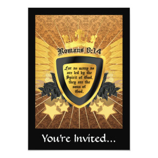 Gold Romans 8:14, Sons of God 5x7 Paper Invitation Card