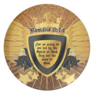 Gold Romans 8:14, Sons of God Melamine Plate