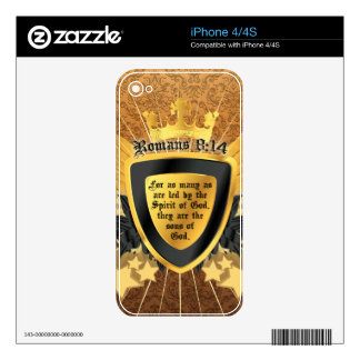 Gold Romans 8:14, Sons of God Skin For iPhone 4