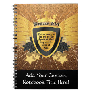 Gold Romans 8:14, Sons of God Spiral Notebook