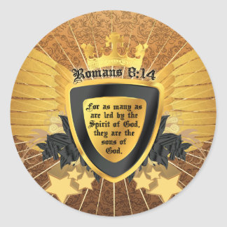Gold Romans 8:14, Sons of God Classic Round Sticker