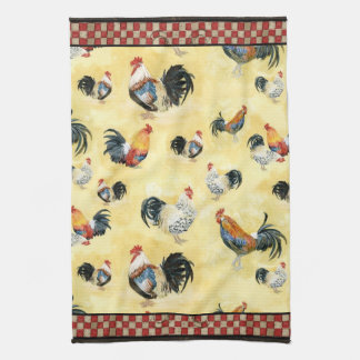 Gold Roosters Red & Tan Check Swirl Kitchen Hand Towel