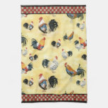 Gold Roosters Red & Tan Check Swirl Kitchen Kitchen Towels