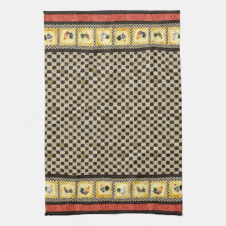 Gold Roosters Red & Tan Check Swirl Kitchen Towel