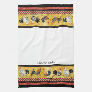 Gold Roosters Red & Tan Check Swirl Kitchen Towels