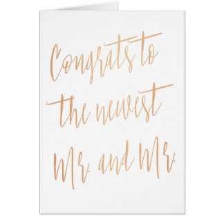 """Gold Rose """"Congrats to the news Mr. and Mr."""" Card"""