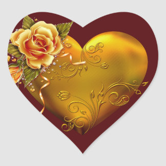 Gold Rose Decorative Heart Sticker