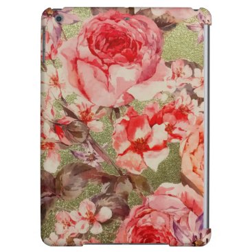 Gold Rose Floral Bloom Raspberry Pink Watercolor Case For iPad Air