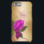 """Gold Rose Floral Marble Tough iPhone 6 Case<br><div class=""""desc"""">Beautiful rose marbled gold case with fuchsia flowers and your name and initial. Just replace my text with yours or click on &quot;Customize it!&quot; if you&#39;d like to adjust the font type,  color,  size,  placement,  etc.  Artwork and design by Karlajkitty</div>"""