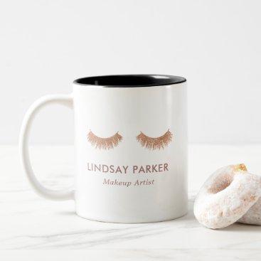Coffee Themed Gold Rose Glitter Lashes Makeup Artist Coffee Mug