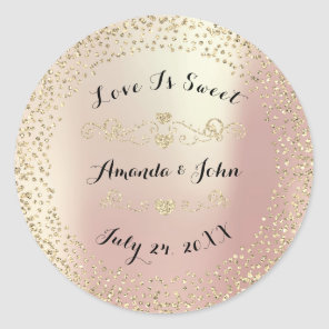 Gold Rose Glitter Save the Date Love is Sweet Classic Round Sticker