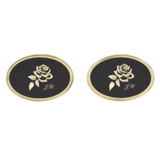 Gold Rose Gold Cuff Links-w/Monogram Gold Cufflinks