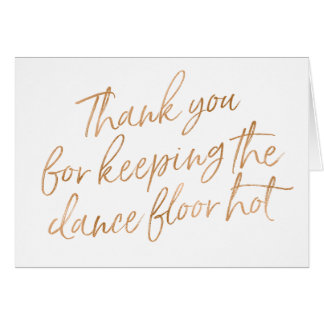 "Gold Rose Hand Lettered ""Thank you"" DJ, Musician Card"