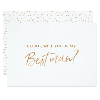 """Gold Rose Hand lettered """"Will you be my best man"""" Card"""