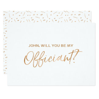 """Gold Rose Hand lettered """"Will you be my officiant"""" Card"""
