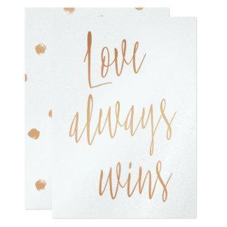 "Gold Rose ""Love always wins"" Card"