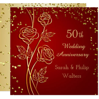 Gold rose on red, confetti 50th Anniversary Invitation