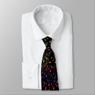 Gold Rose Pink Purple Black Music Notes Necktie