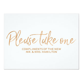 "Gold rose ""Please take one"" Wedding Favors Sign Card"
