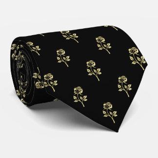 Gold Rose Polka Dot Pattern Neck Tie