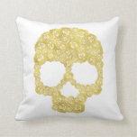 Gold Rose Skull Pillow