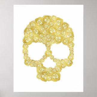 Gold Rose Skull Poster