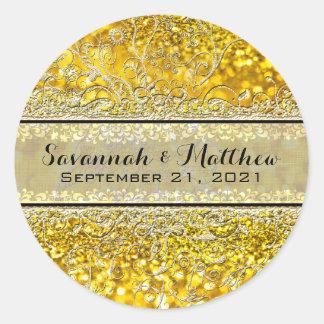 Gold Rose Swirly Romantic Wedding Seal