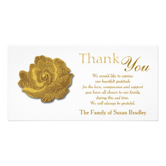 Gold Rose Tapestry Sympathy Thank You Photo Card